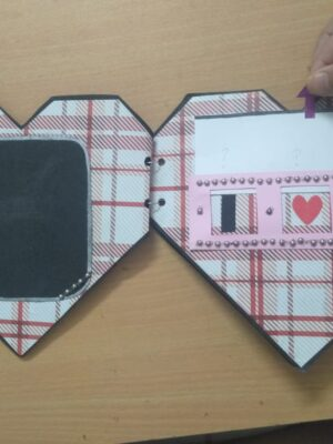 Geometrical heart shaped scrapbook