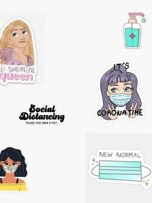 Quarantine Themed Stickers (Pack of 6)